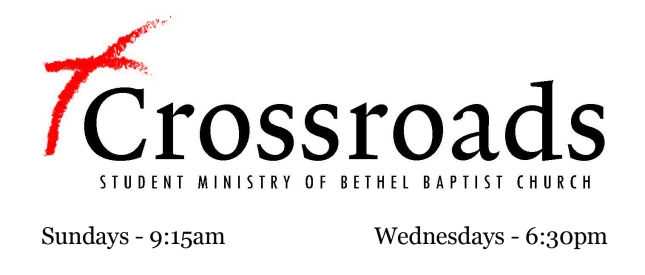 Crossroads Student Ministry Logo with times